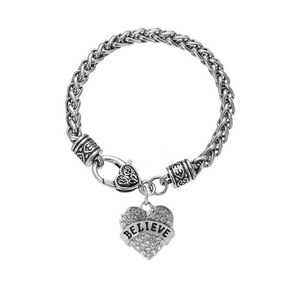 Antique Silver Family Member Bracelets Vintage Punk Heavy Twist Chain Bracelets With Full Diamond Love Heart Jewelry For Family