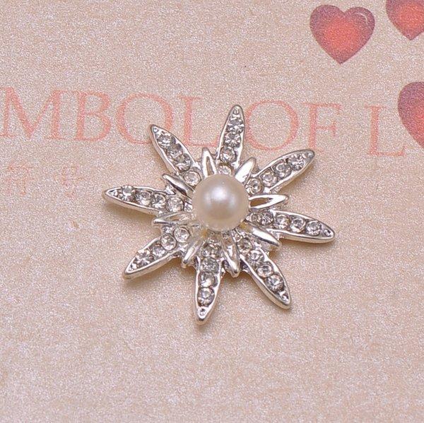 (J0178) 22mm Durchmesser Metall Kristall Verschönerung, Silber  Beschichtung, Elfenbein Perle In Der