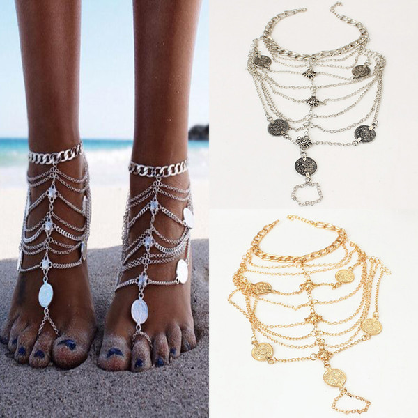 Retro Tassel Barefoot Sandals Beach Jewelry Coin Anklet Foot Bracelet Chain