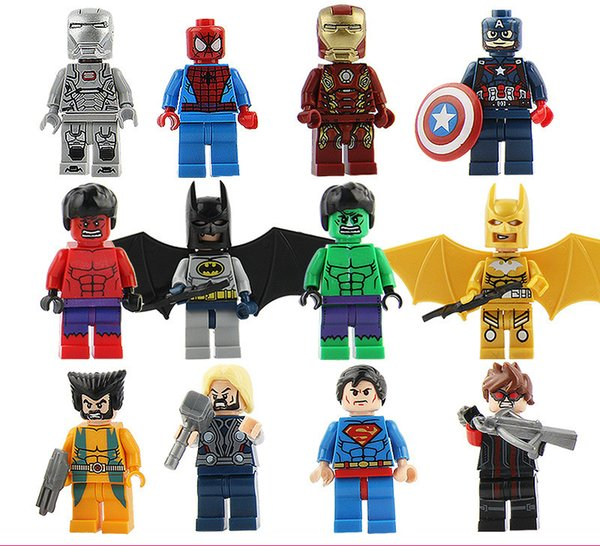 50pcs style Hero Alliance Bean Saint Martha Marie West Pirates Minions Mouse Duck Iron Man Austria Super Slow Assembling Blocks Bricks Toys