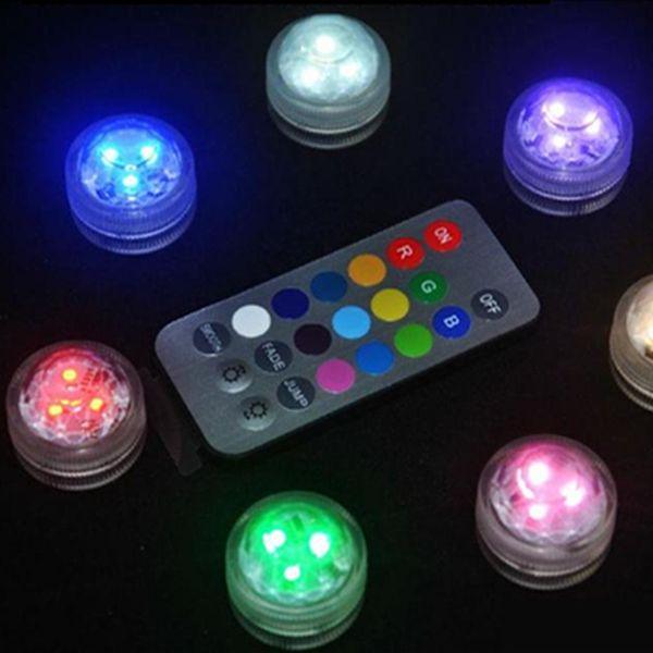 CR2032 Batería Operada 3CM Redondo Super Brillante RGB Multicolores LED Sumergible LED Floralyte Light con control remoto