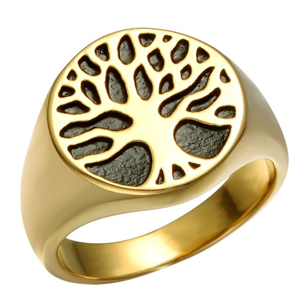 HIP HOP Punk Gold Color Titanium Stainless Steel Wisdom Tree Of Life Rings For Men Jewelry Size 8-12