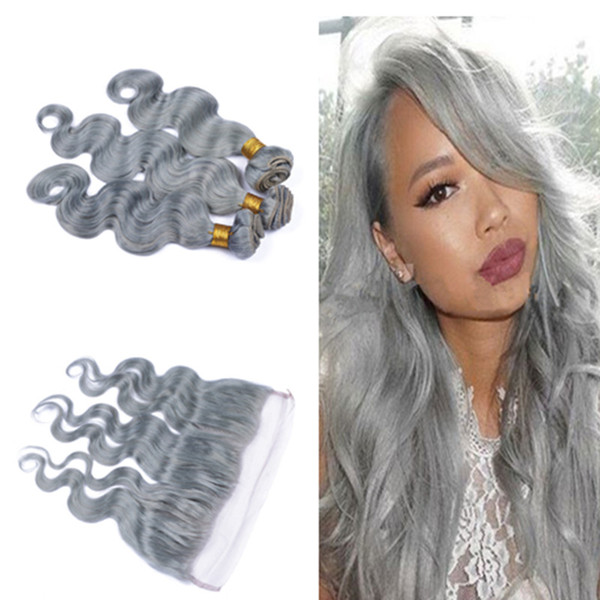Brazilian Silver Grey Human Hair With Full Frontals 4Pcs Lot Pure Gray Body Wave Virgin Hair 3 Bundles With 13x4 Lace Frontal Closure