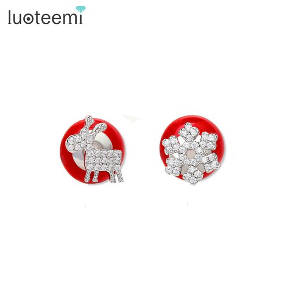 LUOTEEMI New Jewelry Snowflake and Stud Earrings Tiny Shining CZ Crystal Red Imitation Pearl Double Side Brincos Christmas Gift