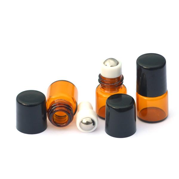 50pcs Empty 1ml Essential Oil Roll Glass Bottle Metal Ball Roller on Amber Bottle Liquid fragrance Bottle