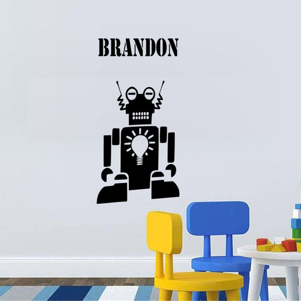 Personalised Name Robot Vinyl Wall Sticker Wall Art Decals Customized Gift Living Room Bedroom Decoration Wallpaper