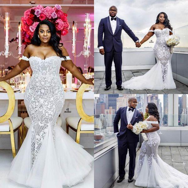 best selling Plus Size Mermaid Wedding Dresses Off Shoulder Sweetheart Trumpet Lace Bridal Gowns Sweep Train Appliqued vestidos de novia Wedding Dress