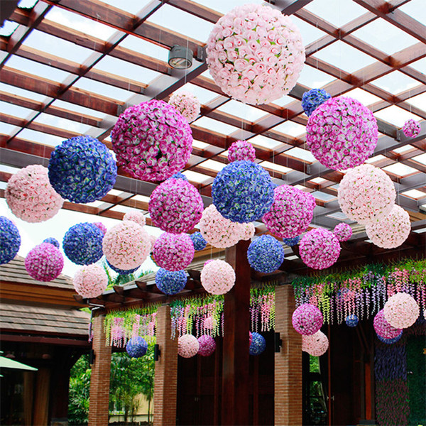 25cm Artificial Silk Rose Pomander Flower Balls Wedding Party Bouquet Home Decoration Ornament Kissing Ball Hop