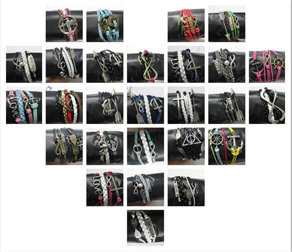 Stili casuali mix Ordine misto 20pcs Braccialetto in pelle Infinity Cross Anchor Love Heart Gufo Credi Braccialetto con perle Charm