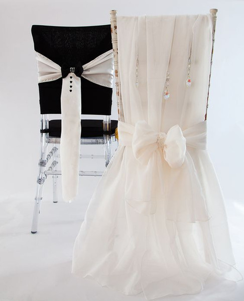 2016 One Pair Stylish Mr&Mrs Organza Crystals Chair Sashes Romantic Beautiful Chair Covers Cheap Custom Made Wedding Supplies