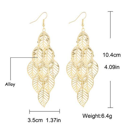 Popular Design gold Leaf Dangle Earrings fashion jewelry wedding gift for a woman free shipping Christmas Gift Earing Jewelry