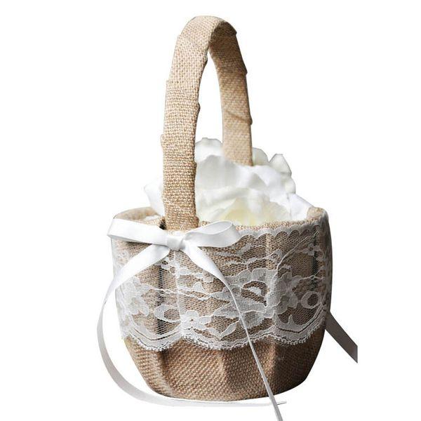 Retro Jute Burlap Lace Wedding Flower Baskets Flower Girl Basket for Wedding Decoration Storage Basket Hanging Basket