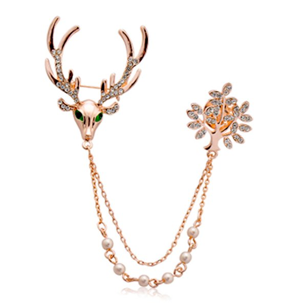 Fashion Strass Cerf Wapiti Milu Cristal Broche Corsage Animal Pins Bijoux