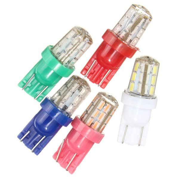 LED T10 W5W 3014 144LM 24 SMD Silicone Auto Car Interior License Plate Light Width Lamp Bulb DC12V