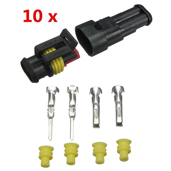 Newest 10sets Car Part 2 Pin Way Sealed Waterproof Electrical Wire Auto Connector Plug Set
