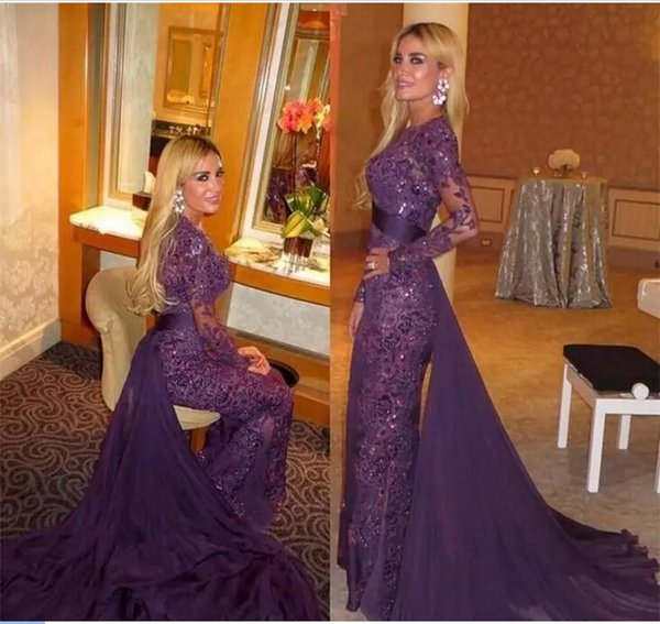 2017 Arabic Muslim Evening Dresses Purple Full Lace Beads Long Sleeves Formal Prom Gowns With Detachable Train Long Party