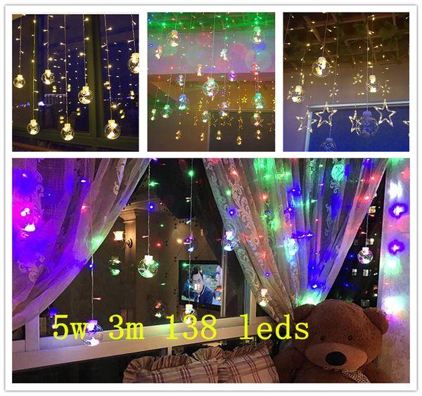 Kuyruk fişi 5 w 3 m 138 leds Bakır tel Arka Plan lamba buz topu dekorasyon ampul net kırmızı lamba yanıp sönen ışık dize tam yıldız perde lambası