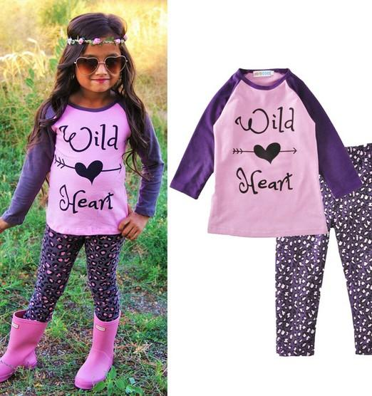 Spring Autumn Children Clothing Sets European Style Kids Wild Heart T Shirt With Polka Dot Long Leggings Two Piece Sets - Wild Heart