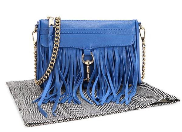 2017 fashion women leather handbags spike stud bags ladies tassel shoulder bags golden chain bags mini flap