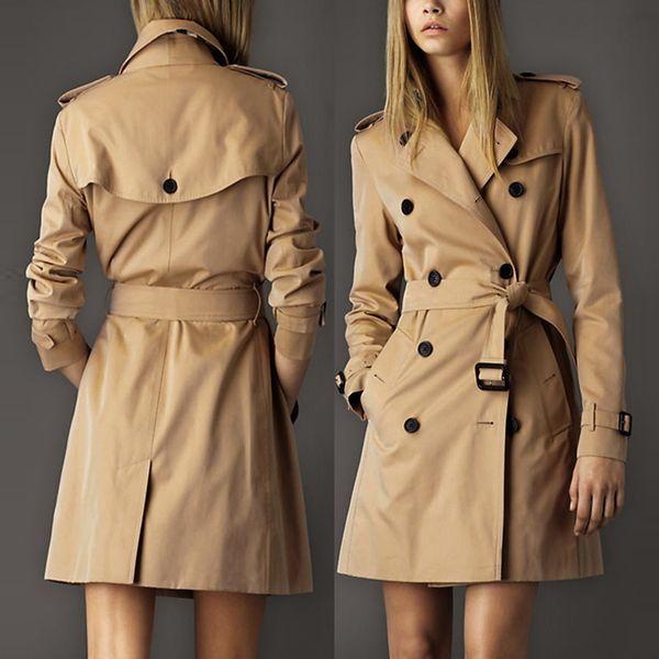 Estilo europeu 2018 Outono Trench coat casaco feminino Britânico Plus Size Longo Double breasted Slim Blusão Outerwear Casacos