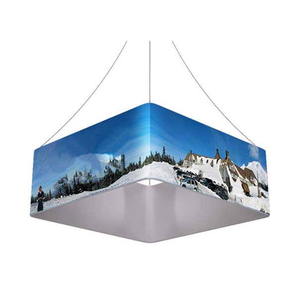 8ft(L)*3.5ft(H) Overhead Square Hanging Banner Sign with Strong Aluminum Frame Tension Fabric Print Graphic Portable Bag