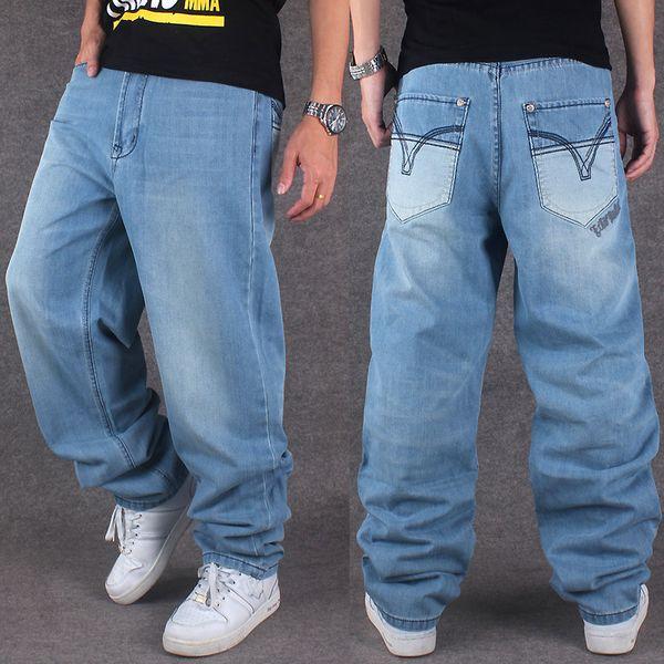 Gros-2016 Nouvelle marque de mode hommes jeans HIPHOP hip-hop vêtements lavés jeans pantalons lâches occasionnels, plus l'engrais XL