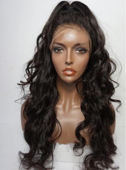 Ünlü Peruk 4x4 Ipek Üst Tam Dantel Peruk Perulu Dalgalı İnsan Saç Virgin Siyah Kadınlar için Tam Dantel Peruk Ücretsiz nakliye
