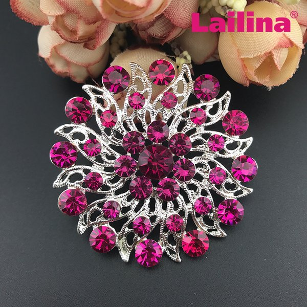 50pcs / lot free shipping bling bling Rhinestone round flower brooch, crystal rose pink broach rhinestone wedding brooches