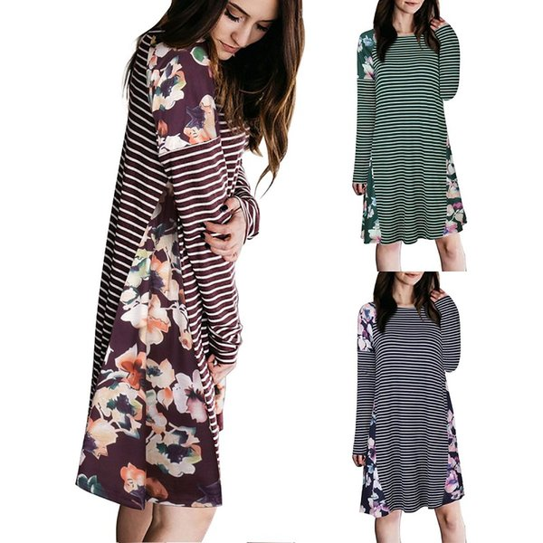 Fashion floral printed dress striped casual shirt dress for autumn or winter 3 color size S to XL round neck long sleeve ML-8726