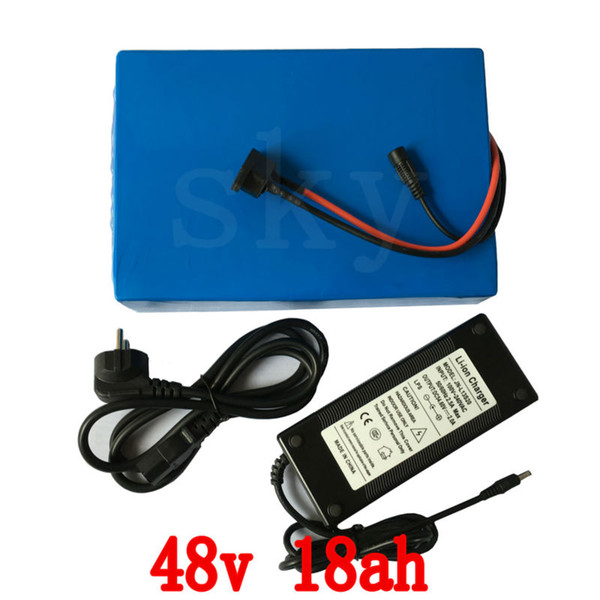 US EU no tax 48v 18ah 1000w lithium ion bicycle electric scooter battery for kit electric bike with 30A BMS and 2A Charger