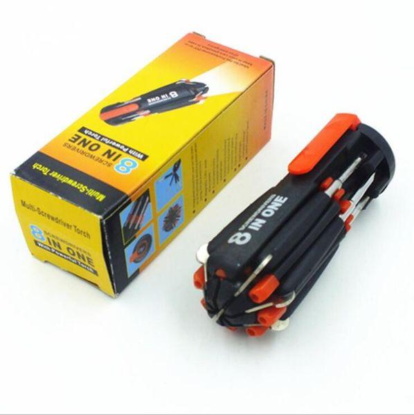 8 in 1 Multifunktions-Schraubendreher-Tools Set Tool Kit mit 6 LED-Taschenlampe Leistungsstarke 6 LED-Taschenlampe in Farbe Box 20 Stück