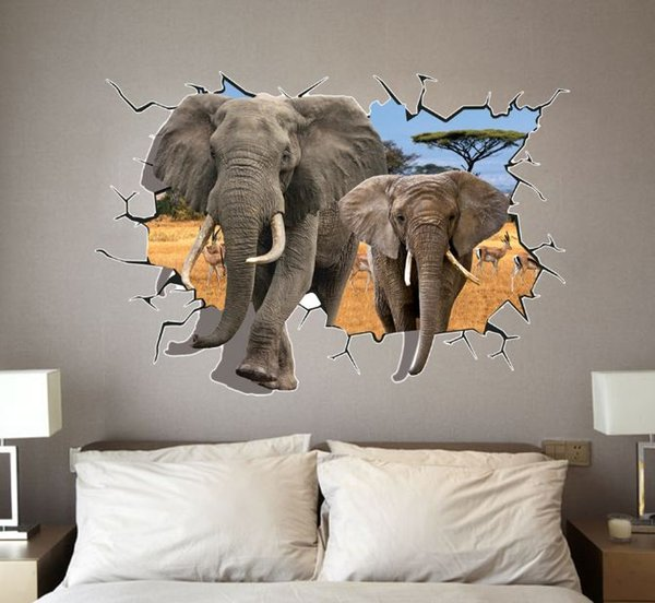 Free shipping: 70*100cm 3D DIY Cartoon PVC Wall Decal/Adhesive and removable Elephant Wall Stickers wallpaper Mural Art Home Decor Accessory