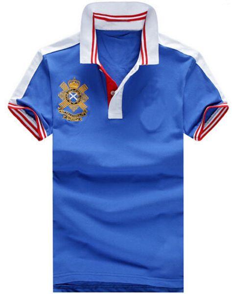 Venda de Verão Sólida Camisas de Polo Para Homens Grande Pônei Bordado Masculino Casual Polos de Algodão Camisa Polo Tops Branco Azul Marinho M-XXL