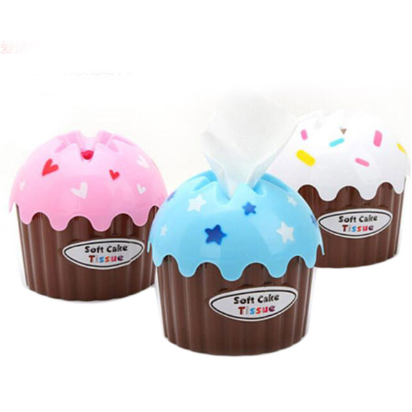 Wholesale- 3pcs Tissue Boxes Creative Cute Ice Cream Cake Towel Tube With Bath Toilet Paper Tissue Box Car Kit Toothbrush Cup High Quality