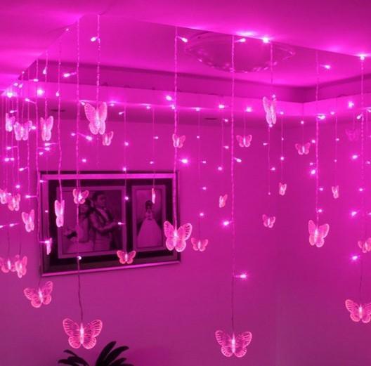 192 LED 8M x 0.5M String Fairy Curtain Light With 48PCS Butterfly Led Curtain light Celebration Wedding Party Ball Decoration AC.110V-250V