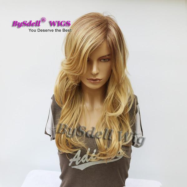Großhandel Premium Natural Suchen Dunkle Wurzeln Blonde Perücke Synthetische Mischung Honig Blonde Farbe Weiße Frauen Mittlere Länge Freie Teil Lose