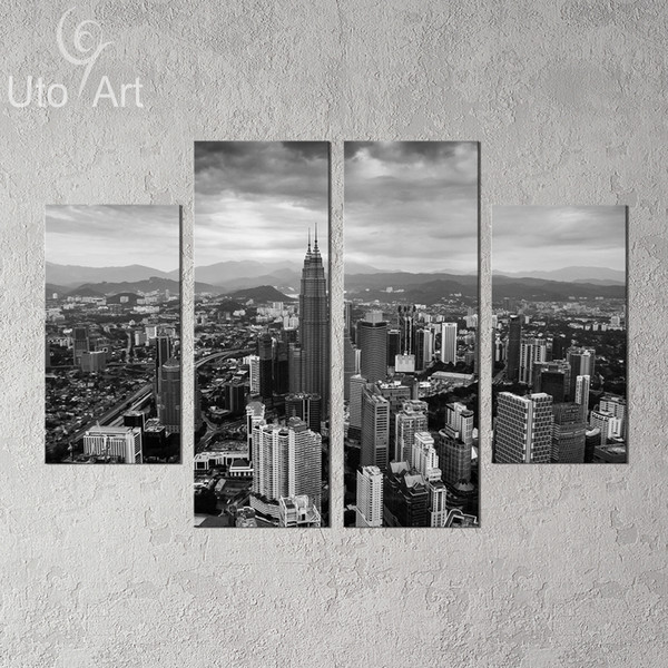 4 PCS Wall Decor Painting Modern City Gray Landscape Art Print Home Decorative Digital Picture Canvas Printing For Living Room