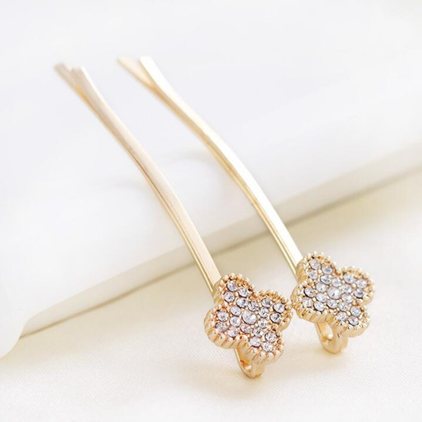 top popular Fashion Vintage Crystal Four Leaves Clover Hairgrips Hair Clip Headdress Hairpins For Women Female Gold Plated Hair Accessories 2019