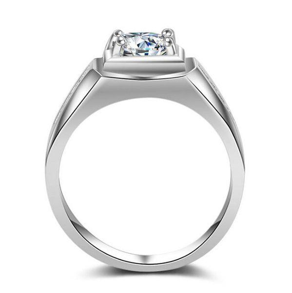 2018 New luxury CZ diamond square designs engagement wedding white gold men ring 2016 with zircon stone (US size 7-12)