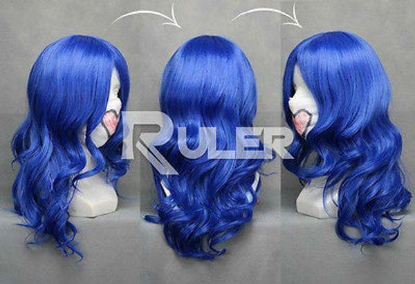 Anime Fada Cauda Juvia / Vocaloid Subespécie Azul Peruca Cosplay Ondulado COS-028A