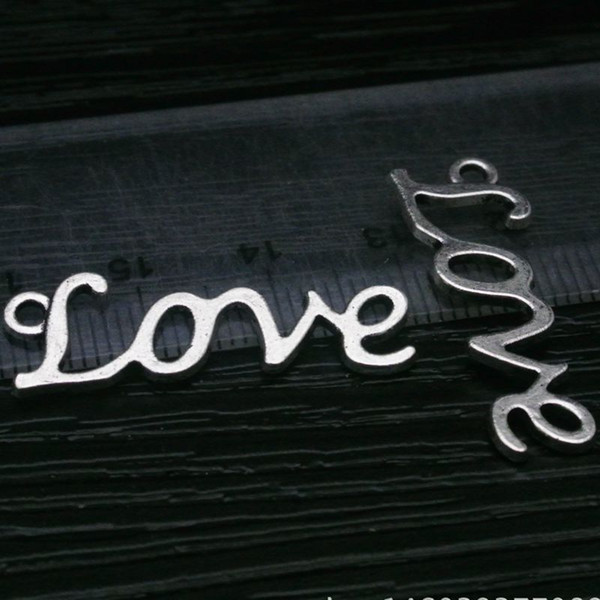 300pcs/lot fashion alloy love logo charms antique silver color metal love frame jewelry and bracelet love pendant alloy