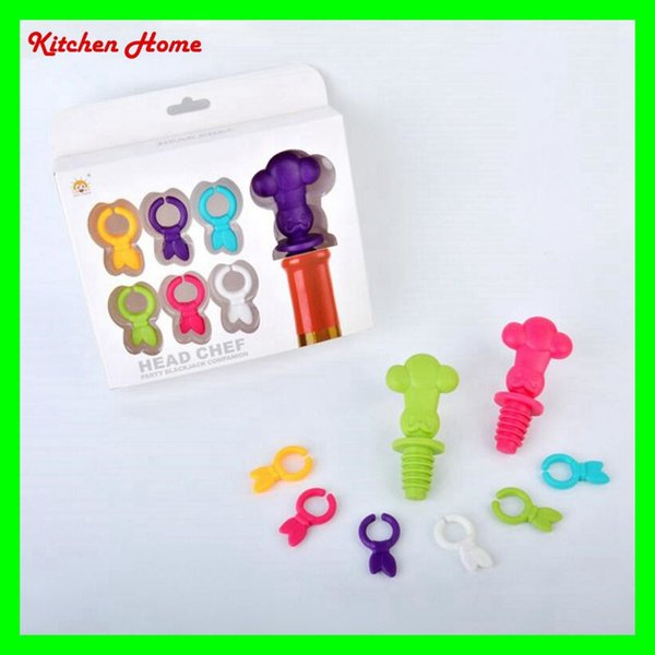 7PCS/SET Creative Cartoon Wine Stoppers Silicone Red Wine Bottles Glass Cups Marker and Stopper Set