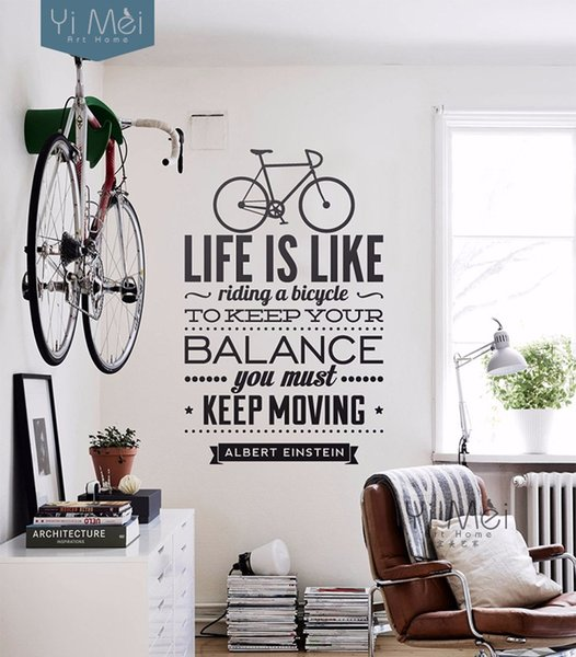Life Is Like Riding A Bicycle Quote Wall Sticker Spanish Vinyl Wall Decal Stickers For Kids Living Room Free Shipping