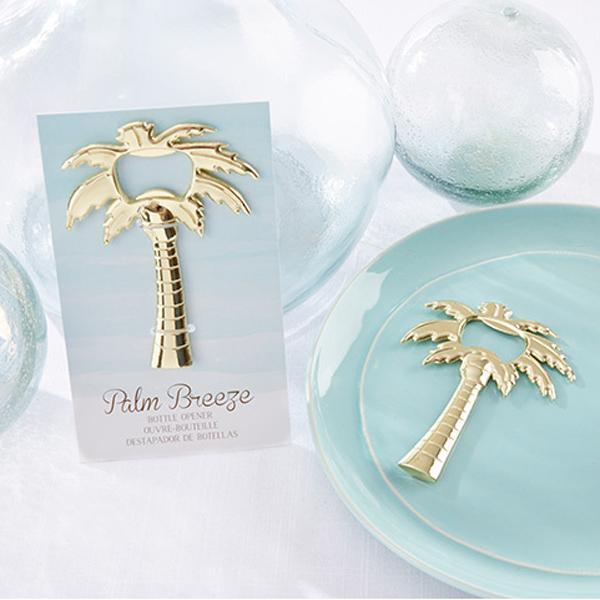 100pcs / lot Faveurs De Mariage Palm Breeze Décapsuleur D'or Parti Favors Golden Palm Tree Openers Livraison Gratuite