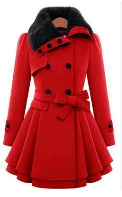 Меховой воротник зимнее пальто женщин casaco feminino abrigos mujer A-Line новый классический двубортный красный пальто sobretudo пальто