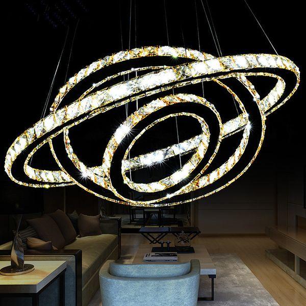 Venda quente venda Quente de Cristal Anel de Diamante de Cristal LED Lustre de Cristal Moderna Luz Pingente Lâmpada 3 Círculos de tamanho diferente posição