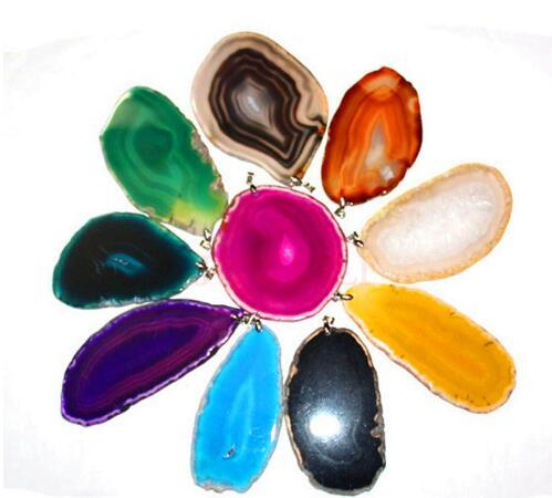 6X Mixed Color Charm Different Natural Agate Slice Pendant Accessories Super Popularity European Fashion Jewelry jewelry silver