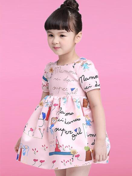 Moda Çocuk giyim gril kısa kollu elbiseler W17JS122