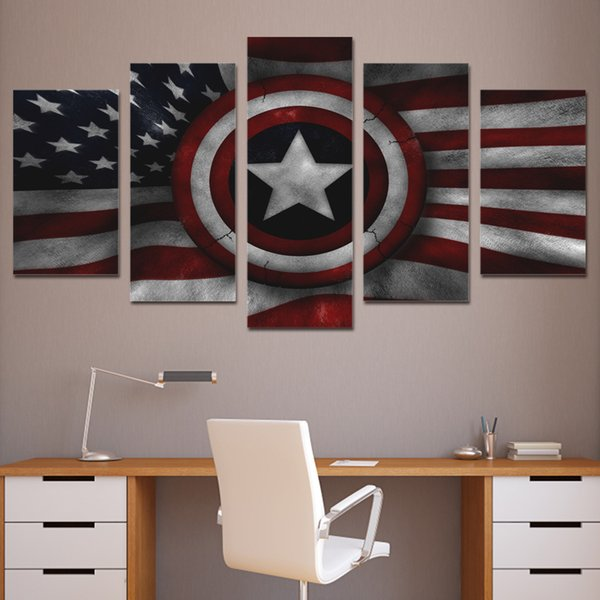 5 Pcs/Set Framed HD Printed Captain Shield American Flag Wall Art Canvas Print Poster Canvas Pictures Abstract Oil Painting