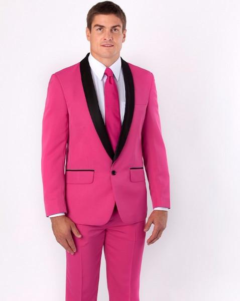 Nuovo arrivo groomsmen scialle nero risvolto smoking dello sposo hot pink uomo abiti da sposa miglior uomo (giacca + pantaloni + cravatta)